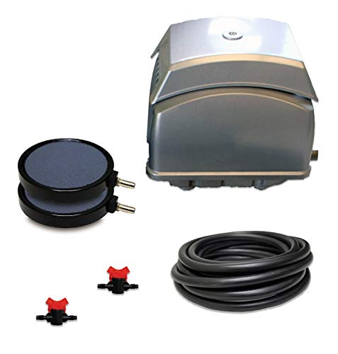 """HALF OFF PONDS Patriot Pond Subsurface Aeration System with 2.8 Cubic Feet per Minute Air Pump, 30' Weighted Tubing, (2) 8"""" Diffusers, (2) Ball Valve Manifolds and T - PAK-65K"""