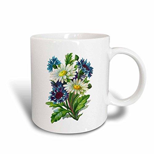 3dRose - Taza de cerámica, color azul y blanco