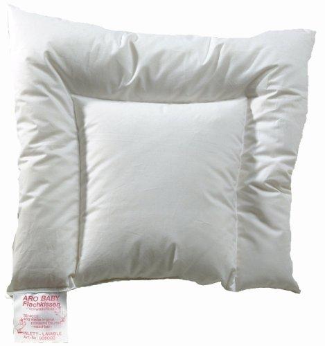 ARO Artländer 9360000 Aroli Baby-Flachkissen, weiße polnische Daune Klasse 1, 90% Daunen, waschbar 60°, Größe 35 x 40 cm