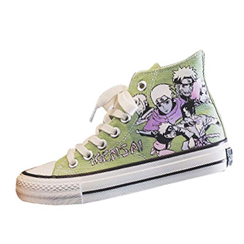 Naruto Anime Canvas Schoenen Espadrilles Canvas Shoes Dames Hoog Groen 38