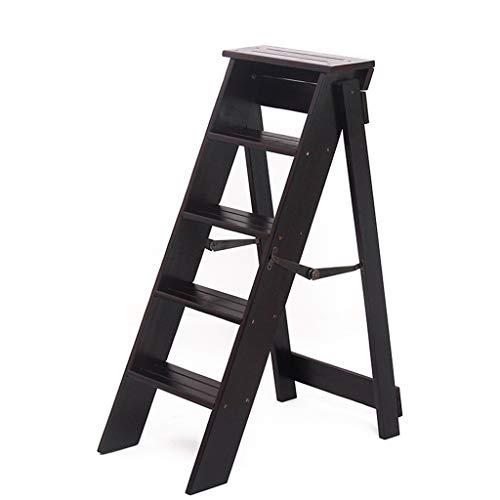 Multifunctionele Vijf stappen ladders beklimmen, Indoor Houten Ladder Office Stepladders Garden Solid Wood Ladder/zwart, bruin 2 Coloues Ladders (Color : Black, Size : 34 * 59 * 88cm)
