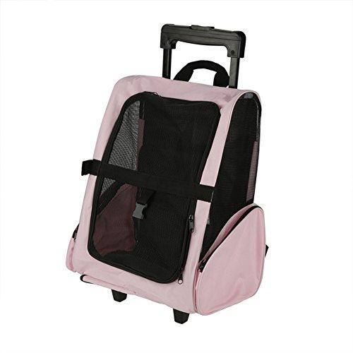 Zerone rugzak, draagbare, verstelbare huisdier-reistransportmachine, voor op wieltjes en camping, voor outdoor, reizen, kamperen, wandelen, roze
