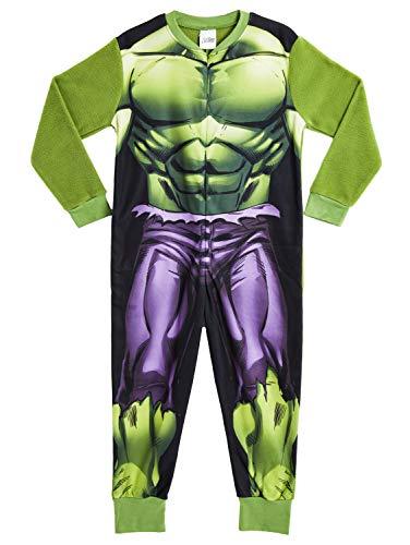 Marvel Einteiler für Kinder, mit Hulk- und Avengers-Motiv, Schlafanzug Gr. 7-8 Jahre, Hulk