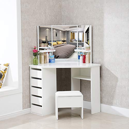 CLIPOP White Corner Dressing Table Set Makeup Desk with 5 Drawer and Stool,Bedroom Mirror Dressing Desk Furniture with 25mm Thick Gloss Table Top (114x61x140cm)