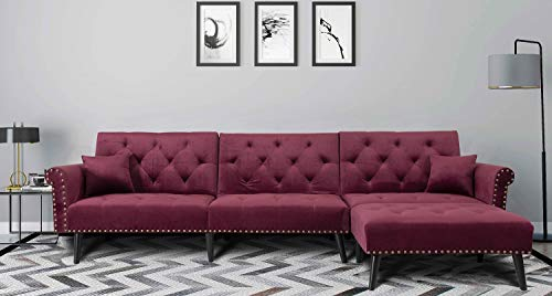 Danxee Sofa Bed Set Sectional Sofa L Shape Sectional Couch Sleeper Couch Bed Modern Style Velvet Sleeper Futon Sofa with Extra Wide Chaise Lounge (Wine Red)