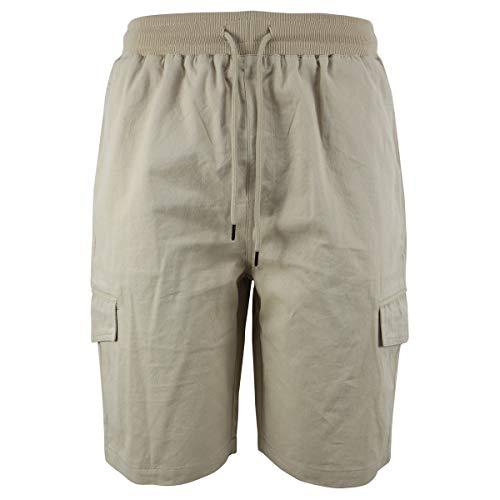 LeeHanTon Casual Elastic Waist Mens Cargo Shorts Cotton Loose Fit Performance Twill Short Beige 38