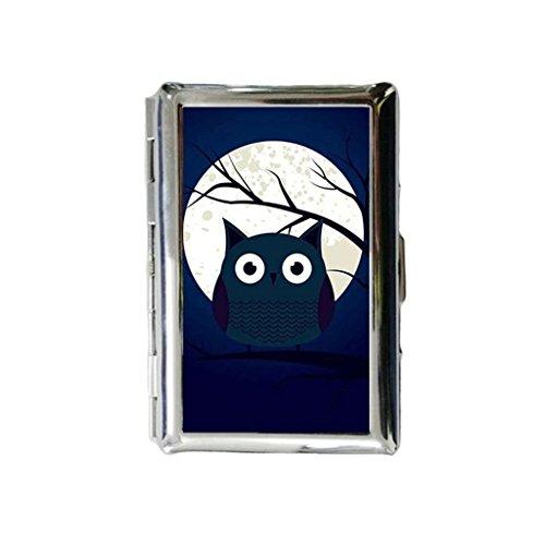 Preisvergleich Produktbild Niedliche Eule in blau Night Custom Gravur Metall Zigarettenspitze Fall,  Zigarettenetui oder Brieftasche.