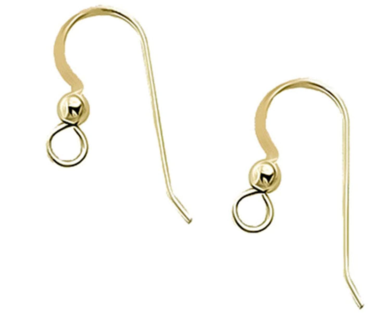 uGems Earwire 14kt Solid Yellow Gold Earring Parts .025