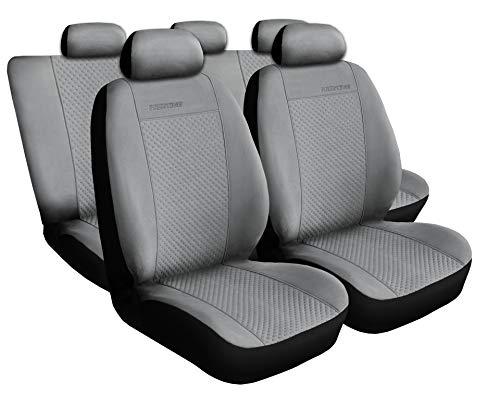 3er Set Saferide Autositzbezüge PKW universal | Auto Sitzbezüge Velourslederimitat Grau für Airbag geeignet | für Vordersitze und Rückbank | 1+1 Autositze vorne und 1 Sitzbank hinten teilbar