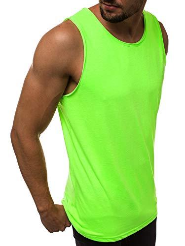 MOODOZ Herren Tanktop Basic Unifarben Tank Top Tankshirt T-Shirt Unterhemden Ärmellos Muskelshirt Sport O/01205X GRÜN-NEON XL