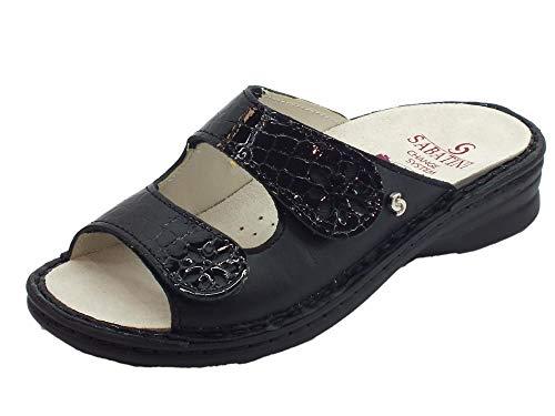 Sabatini Emma Damen-Sandalen aus Leder und Kokosnuss, doppelter Verstellung, Schwarz, Schwarz - Schwarz - Größe: 40 EU