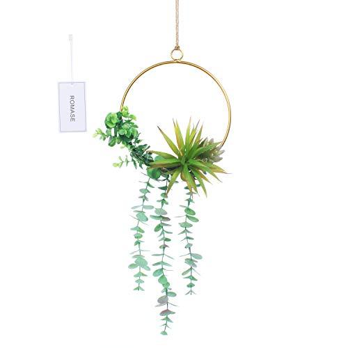 Romase Artificial Flower Metal Garland Handmade Wreath of Succulents and Eucalyptus 1 Piece for Wedding Backdrop Wall Decor