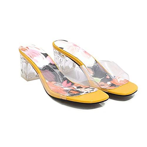 FGDSA De Las Mujeres Bloque Transparente Tacón Medio Sandalias deslizantes Correa Transparente Slingback Mule Punta Abierta Estampado Floral Zapatos de salón Pantuflas