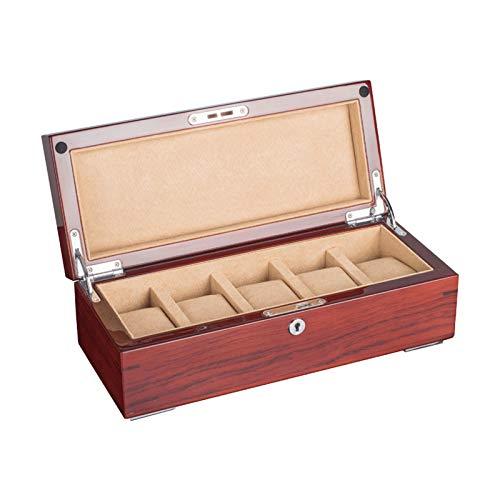 GYMEIJYG Caja De Almacenamiento De Reloj 5 Ranuras Caja De Reloj De Madera Caja De Reloj para Mujer Caja De Reloj con Cerradura para Guardar Relojes (Color : Red, Size : 30.5x12.5x10.5cm)