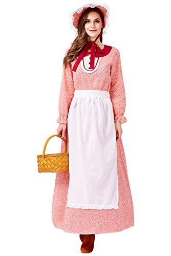 Tollstore Pioneer Colonial Historische Kostüm, Damen Viktorianisch Pioneer Kolonial Bauer Kostüm Prairie Kleid Rot M