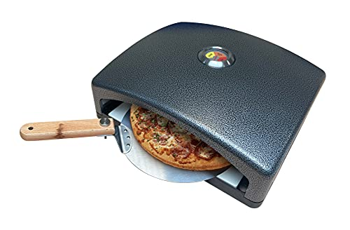 Smith-Style Portable BBQ Pizza Oven Outdoor Heating Carbon Steel Barbeque Accessory for Garden with Removable Stone Base + Paddle - Suitable For Charcoal BBQ + Gas BBQ