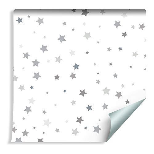 Muralo Tapete Für Kinder - Graue Kleine Sterne Vlies Stern dekorativ Weltall - 162244830
