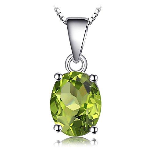 JewelryPalace Colgante Solitario 1.7ct Genuino Peridoto Oval Verde Piedra de nacimiento Collar Plata de ley 925 cadena de caja 45cm