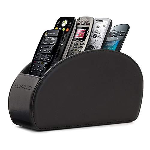Londo Fernbedienungshalter mit 5 Taschen - Platz für DVD, Blu-Ray, TV, Roku oder Apple TV Fernbedienungen - Leder mit Wildleder Futter (Schwarz)