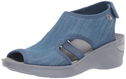 BZees Women s Dream Ankle Straps Sandal, Denim, 8.5