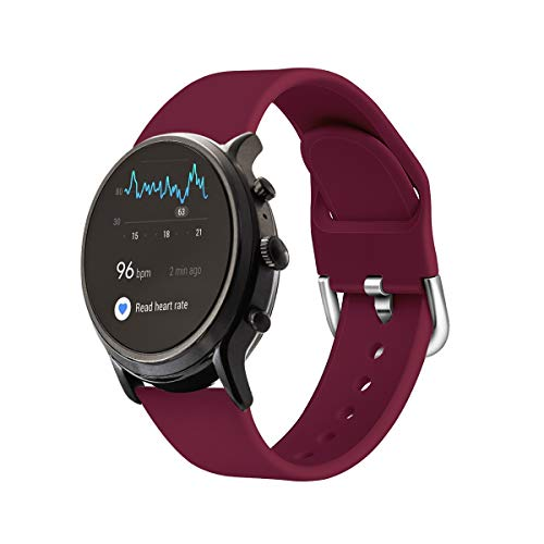 Qiyiguo Compatible for Samsung Galaxy Watch 3 45mm /Galaxy Watch 46mm Band, Replacement 22mm Solid Color Watch Band for Fossil Men's Gen 5 Smartwatch (Julianna/Carlyle/Garrett)/ Gen 5E, Wine Red(S)