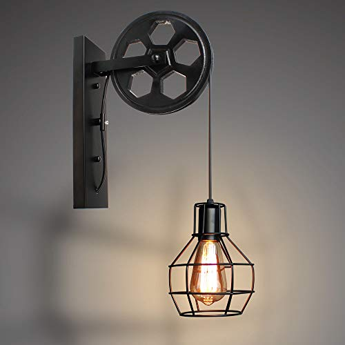 E27 Applique Murale Industrielle Poulie Vintage Suspension Métal en forme Cage Rétro Lampe de Mur Loft Corde Ajustable (Noir)