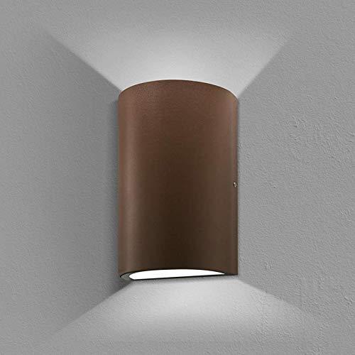 Lampo Up & Down - Aplique de pared biemisión LED de 10 W para interior y exterior IP54 – Corten, redondo, 3000 K, luz cálida