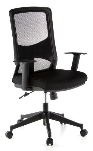 hjh OFFICE 653100 Bürostuhl LAVITA Stoff/Netz Schwarz Drehstuhl ergonomische Rückenlehne, Armlehnen verstellbar