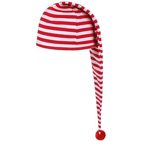 Lipodo Schlafmütze rot weiß gestreift (56 cm lang) - Damen und Herren - Nachthaube aus Baumwolle - Bommelmütze One Size (53-60 cm) - Nachtmütze mit Bommel - Zipfelmütze zum Schlafen für die Nacht
