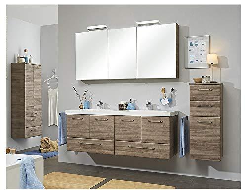 Pelipal - FILO 20 - Badmöbel-Set - 146 cm - Doppel-Waschplatz, 3-teilig mit Spiegelschrank, Mineralmarmor-Doppelwaschtisch usw. in Sanremo Eiche Terra quer, EEK: A+ (Spektrum A++ - A)