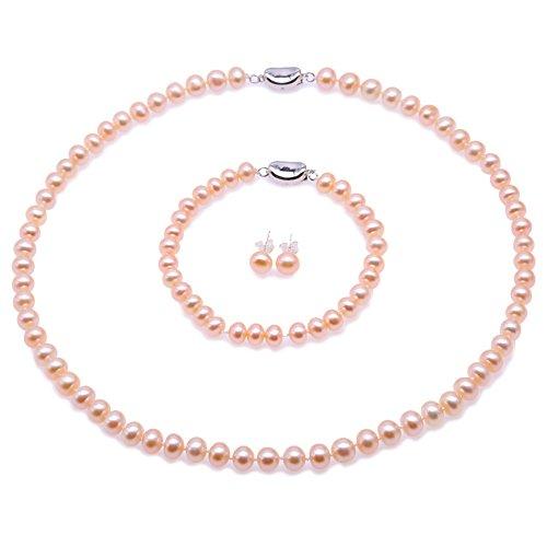 JYX suesswasser perlenkette Perlen - 7-8mm AA flache Runde Süßwasser Perlenkette, Armband und Ohrstecker Set - (Rosa)