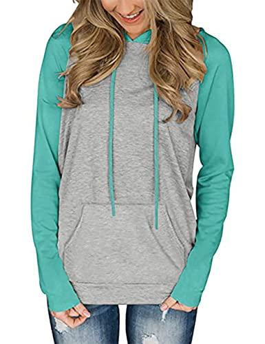 HESUUIO Sudadera con capucha para mujer, diseño de patchwork, tamaño grande, manga larga, bloque de color, con capucha, verde menta, XL