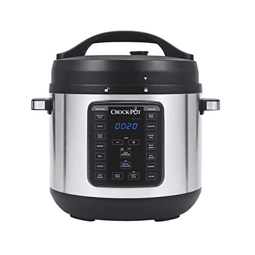 Crock-Pot 8-Quart Multi-Use XL Express Crock Programmable Slow Cooker and Pressure Cooker with Manual Pressure, Boil & Simmer, Stainless Steel (Renewed)