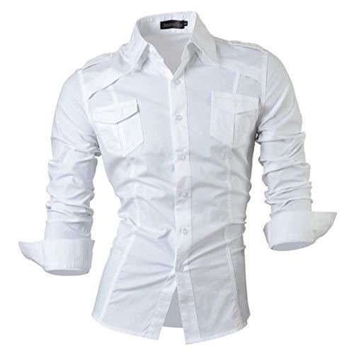 Características del otoño del Resorte Camisa de los Pantalones Vaqueros Casuales de los Hombres Camisas Casuales de Manga Larga Slim Fit 8001-White Us XL