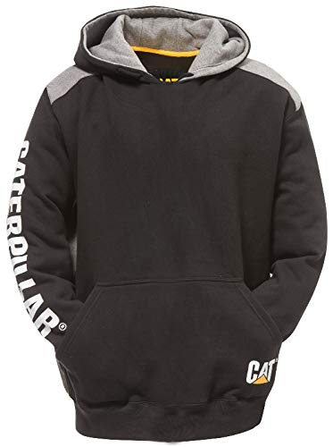 CAT183-BK-LGE - Logo Panel Hooded Jumper Black - Lge - BLACK - L EU / UK