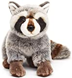 Uni-Toys - Mapache Sentado - 25 cm (Longitud) - Oso, Animal del Bosque - Peluche