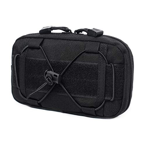 Tactical Molle Horizontal Admin Pouch Compact 1000D Utility EDC Tool Bag with Shoulder Strap (Black)