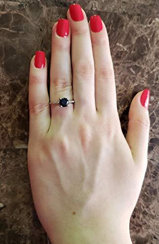 Genuine Black Onyx & Diamond Round Ring 14Kt Yellow Gold Rose Gold Silver