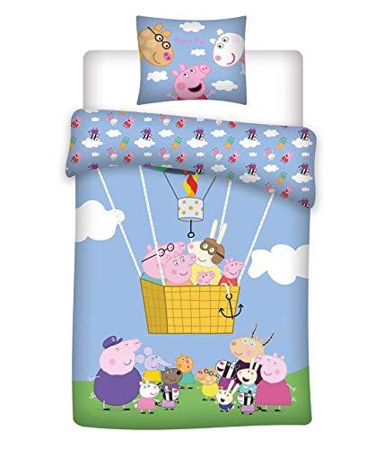 BrandMac ApS Peppa Wutz Baby-Bettwäsche-Set 2-teilig 100% Baumwolle Bettbezug 100x135 Kissenbezug 40x60 deutsche Standardgröße Peppa Pig Ballon Wendebettwäsche