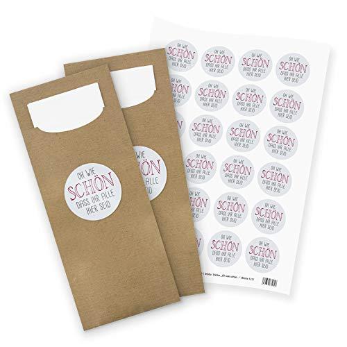 itenga 24x Bestecktasche/Pochetten braun mit Serviette + Stickerbogen Oh wie schön DASS Ihr alle Hier seid (Motiv 127)