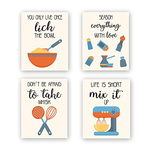 CHDITB Unframed Funny Kitchen Wall Art Print, Colorful Inspirational Quotes Canvas Poster ,Set of 4(8' x10' )Farmhouse Style Painting,Cooking Artworks For Baking Room,Restaurant, Dining Room Decor