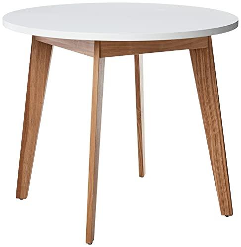 "Amazon Brand – Rivet Noah Round Modern Ash Dining Table, 35.4""W, White"