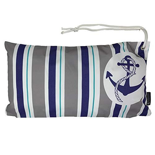 HOMELEVEL Cojín de playa impermeable 55 cm x 30 cm con cordón de transporte, cojín relleno, para tumbona de viaje, playa, piscina, playa, jardín, viaje (ancla azul)