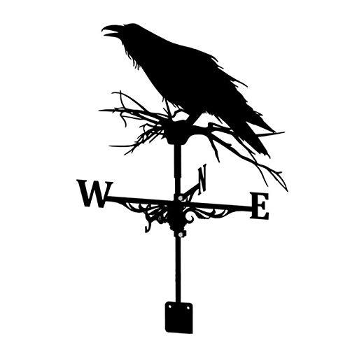 YIWOYI Weathervane with Animal Ornament,Stainless Steel Weather Vane Retro Farm Scene Garden Stake Weathervane Professional Measuring Tools Patio Yard Decor (black)