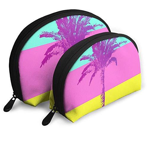 JUKIL Palm Tree Set de 2 Bolsas de Maquillaje Set para Viajes y Almacenamiento Diario Shell Shape Handy Cosmetic Pouch Case
