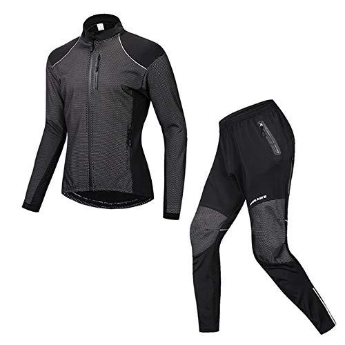 Homme Maillot de Cyclisme Manches Longues Vestes de Cyclisme Rembourrés Pantalons Vélo VTT Vêtements Respirant Automne Hiver Thermique Polaire Vêtements BC-27,XXL