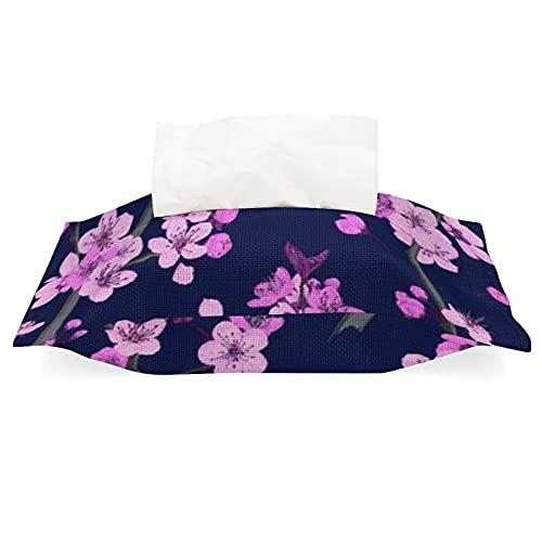 Funda de tejido de lino y algodón, color rosa, ramas de flor de cerezo, soporte de papel de lino, para oficina, coche, viaje, WGY blanco, rosa, ramas de flor de cerezo, talla única