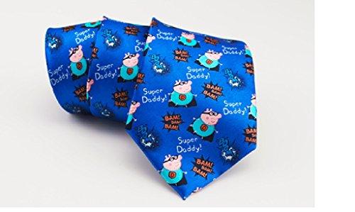 Sweet Home Cravates de Daddy Super, cravates soie Peppa Pig imprimé,cadeau pour cravates