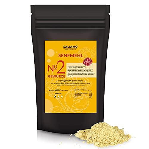 Saliamo Senfpulver gemahlen - scharfes Gelb - Senfkörner - teil entöltest Senfpulver - eignet sich zu Herstellung von Senf - 250 g Packung