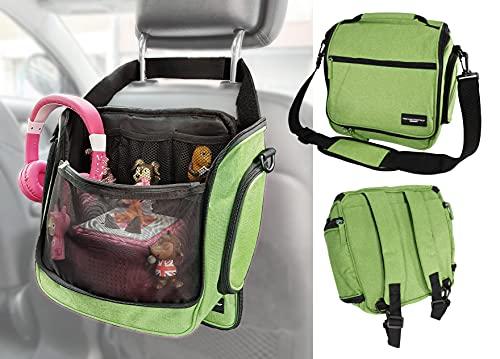 Rucksack Tasche für Toniebox und Zubehör mit Schultergurt und Auto-Halterung   Platz für 16 Hörfiguren Ladestation Lauscher   GRÜN   passend auch für Tigerbox Touch   Transporttasche Reisetasche